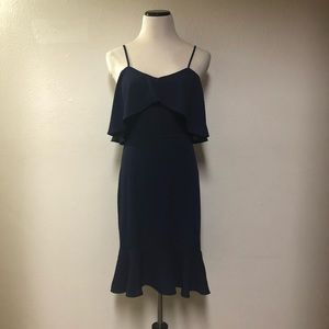 NEW LEITH Navy Blue Ruffle Dress Size Small